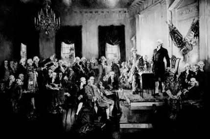 This photo provided by the Library of Congress shows a painting by Howard Chandler Christy on display in the U.S. Capitol of George Washington presiding at the signing of the Constitution of the United States in Philadelphia on Sept. 17, 1787.