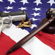 gun gavel and flag