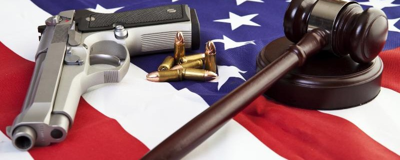 gun gavel and flag